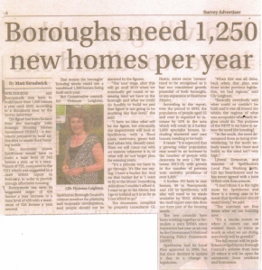 Surrey Advertiser June 19 2015 Boroughs need 1250 new homes per year