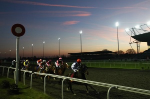 SUNBURY, ENGLAND - JANUARY 17:  Runners and riders on their first lap in the Matchbook Traders Conference Handicap Stakes at Kempton Park on January 17, 2017 in Sunbury, England.  (Photo by Julian Finney/Getty Images)